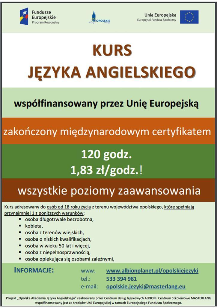 kurs języka angielskiego współfinansowany przez Unię Europejską - plakat.jpeg