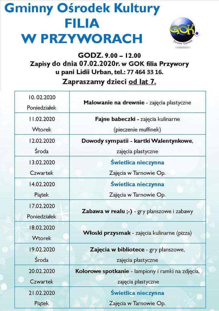 Plakat - Ferie Zimowe z GOK Filia Przywory.jpeg