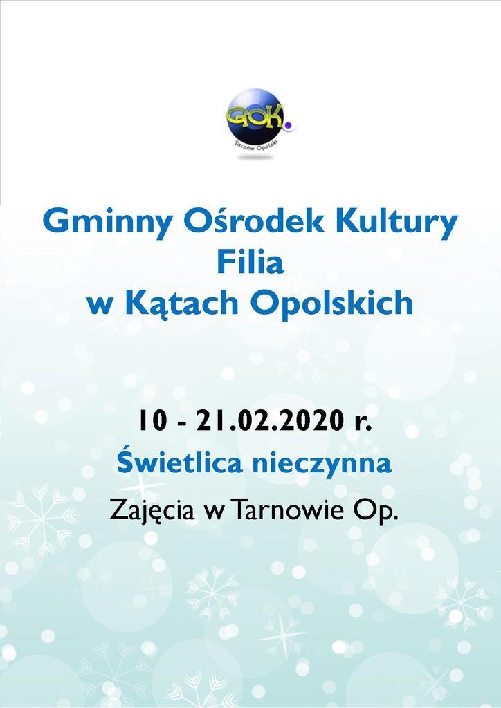Plakat - Ferie Zimowe z GOK Filia Kąty Opolskie.jpeg
