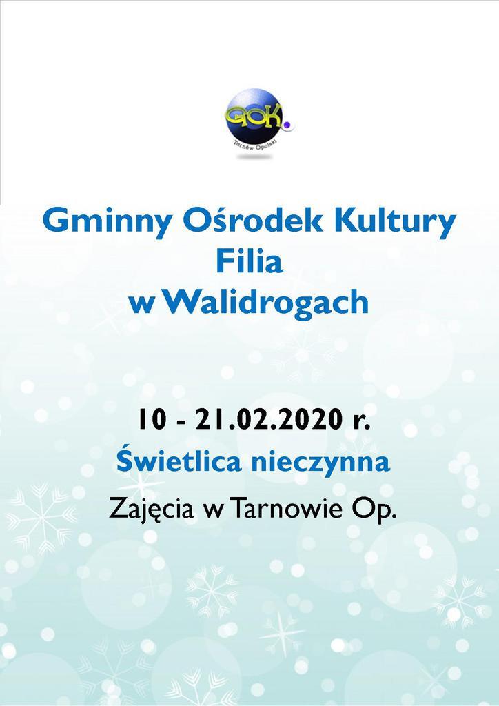 Plakat - Ferie Zimowe z GOK Filia Walidrogi.jpeg